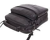 Кожаная сумка мужская через плечо вместительная барсетка из натуральной кожи s2014 кожа черная 24х22х10см, фото 5