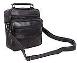 Кожаная сумка мужская через плечо вместительная барсетка из натуральной кожи s2014 кожа черная 24х22х10см, фото 6