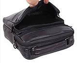 Кожаная сумка мужская через плечо вместительная барсетка из натуральной кожи s2014 кожа черная 24х22х10см, фото 7