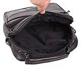 Кожаная сумка мужская через плечо вместительная барсетка из натуральной кожи s2014 кожа черная 24х22х10см, фото 8