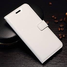 Чехол книжка для OnePlus 5 A5000 боковой с отсеком для визиток, Гладкая кожа, белый