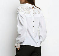 Блуза з гіпюром жіноча (креп-шифон), фото 1