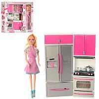 Мебель 7922-1-2кухня-звук,свет, кукла 28 см, посуда