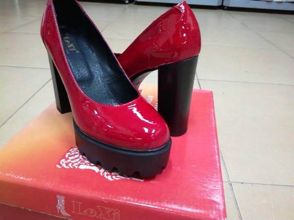 Красные кожаные туфли лаковые на высоком каблуке  LEXI V607., фото 2