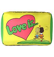 Подушка Love is желтая