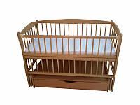 Кроватка детская Labona Элит № 10 на шарнирах с подшипником, откидная боковина, ящик (натуральная)