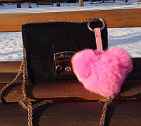 Брелок меховой Сердце Розовый (натуральный мех)
