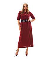 Классическое длинное женское платье больших размеров с разрезами БОРДО (пояс в комплекте) , фото 1