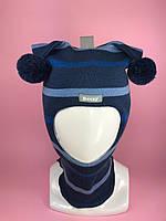 Детская зимняя шапка-шлем для мальчика Арлекин 1407 гроза голубой мадонна