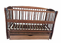 Кроватка детская Labona Элит № 10 на шарнирах с подшипником, откидная боковина, ящик (орех)