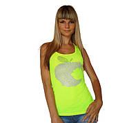 """Женская летняя Майка борцовка со стразами """"Apple"""" гладкая Разные цвета, фото 1"""