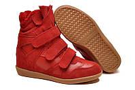 Кроссовки женские Isabel Marant (сникерсы) зимние на меху красные