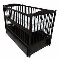 Кроватка детская Labona Элит № 10 на шарнирах с подшипником, откидная боковина, ящик (венге)
