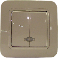 Выключатель двойной с подсветкой Makel Lilium С/М крем №32020023