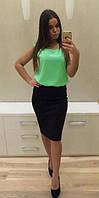 Платье комбинированное юбка и блузка Мятное, Бордовое, Пудра