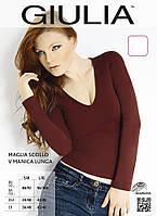 Футболка женская Giulia Maglia Scollo V Manica Lunga (marrone)