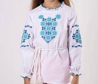 Вышиванка для девочки с синим узором , фото 1