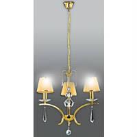 Люстра потолочная (люстра подвесная) золотая с желтой тканью  3*E27,Buko