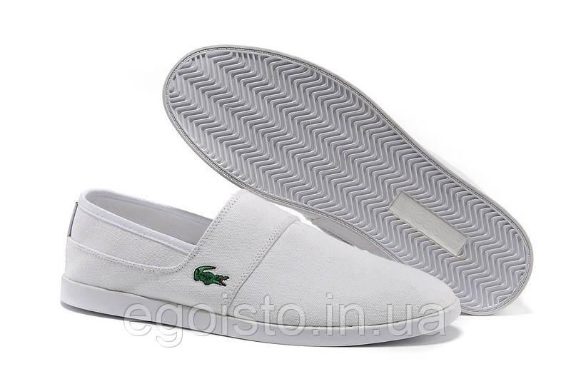Мокасины мужские Lacoste Slip-On White (лакост) белые - Интернет-магазин  брендовой 92f557907e2