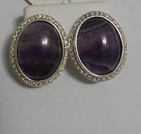 Серьги из серебра с фиолетовым аметистом Глория