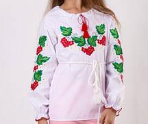 Вышитая блуза для девочки с калиной