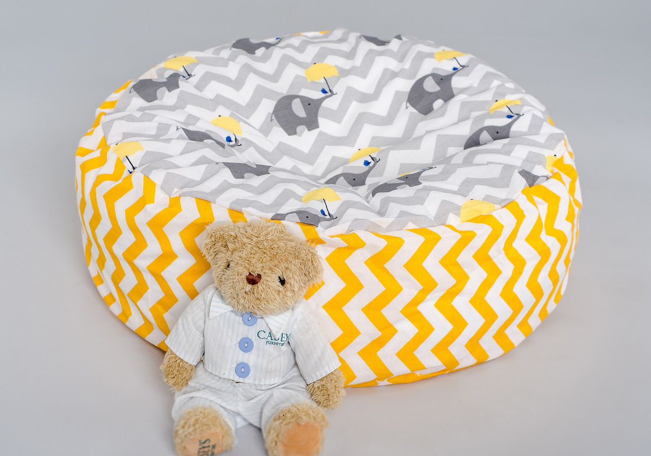 "Дитячий пуф ""Слоник з жовтою парасолькою"""