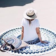 Пляжный коврик круглый с орнаментом Мандала Сине-черная