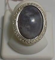 Кольцо серебряное с агатом Глобус