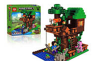 Конструктор Lepin Minecraft Майнкрафт Домик на дереве: 406 деталей, 3 фигурки