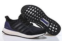 Кроссовки мужские Adidas Ultra Boost Black White (в стиле адидас) черные