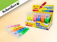 Текстмаркер, 5 цветов в ассортименте, скошенный наконечник, цветной пластиковый корпус