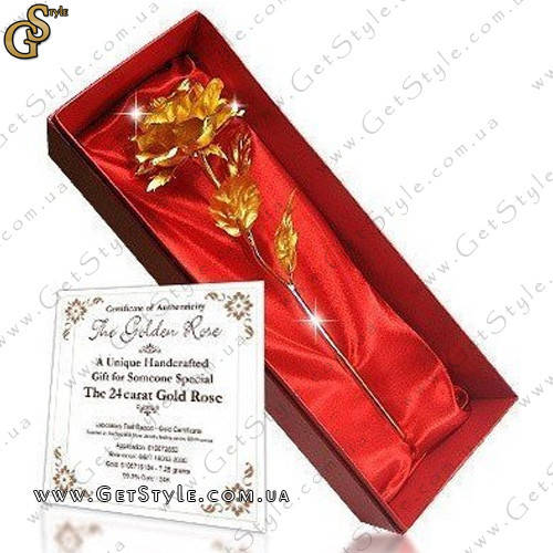Подарите любимой розу, которая никогда не завянет! Цветок с тонкими лепестками из золотой фольги выполнен так искусно, что выглядит совсем как настоящий.