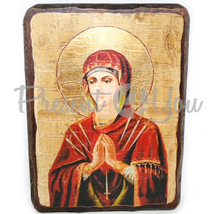 Деревянная икона Пресвятой Богородицы «Умягчение злых сердец», 17х23 см (814-2011)