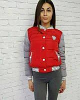 Женская куртка-бомбер. Распродажа 46, красный