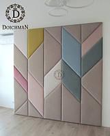 Мягкие панели для стен в детской из ткани разной формы