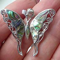 Кулон с натуральным  абалоном  Бабочка