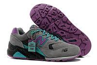 Кроссовки женские New Balance 580 Grey Purple (в стиле нью бэлэнс) серые