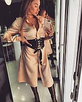 Платье-рубашка Doratti модное с поясом-корсетом перламутровый атлас разные цвета SMdor1706