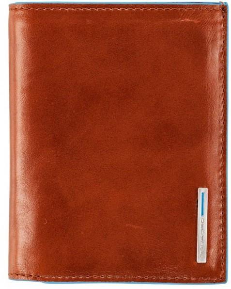 Красивое кожаное портмоне Piquadro Blue Square вертикальное с отделением для монет PU1740B2_AR оранжевый