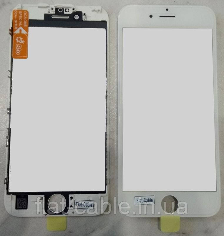 Скло iPhone 6s White (білий) оригінал з рамкою