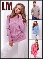 44-50 р Красивый свитер 8822 женский весенний шерстяной повседневный зимний осенний теплый ажурный однотонный