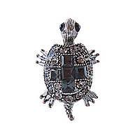Брошь Черепаха,чёрные и белые стразы, металл под серебро,25мм
