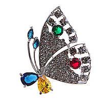 Брошь Бабочка с цветными и белыми стразами,металл под светлое серебро,45мм
