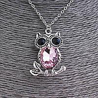 Кулон на цепочке Сова на веточке с розовым и чёрными стразами, цвет серебро, 35мм