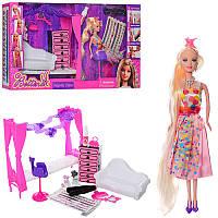 Мебель 68023 диван, комод, кукла 29 см (длинные волосы), краска для волос, животные, аксессуары