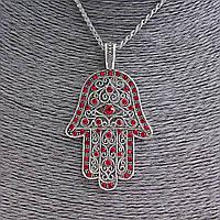 Кулон на цепочке Хамса с красными стразами, металл под серебро, 70мм