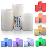Светильник свеча светодиодный RGB  (декоративные светодиодные свечи RGB)с пультом 3 штуки 3*AAA,Watc