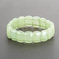 Браслет Оникс  зеленый на резинке звено прямоугольник 1,5х1,1см