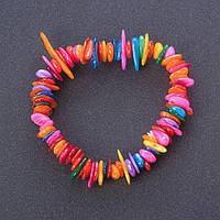 """Браслет """"Лето на пляже""""  разноцветный Перламутр галтовка (окрашен)  на резинке"""