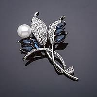 Брошь Ветвь синие кристаллы, жемчуг